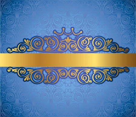golden border: Gold antique frame on blue decorative background, vector