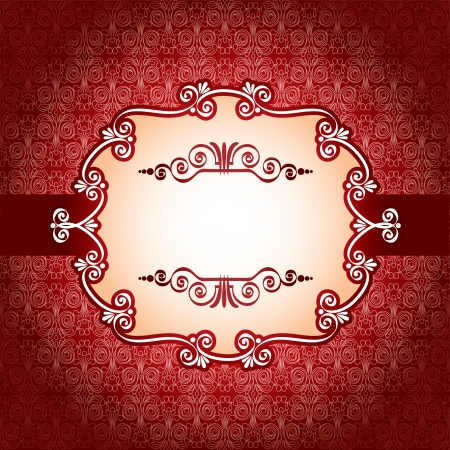 Lace frame and design elements on seamless retro background Vector
