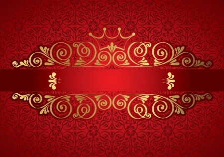 Vintage frame on damask background, vector illustration Stock Vector - 17041442