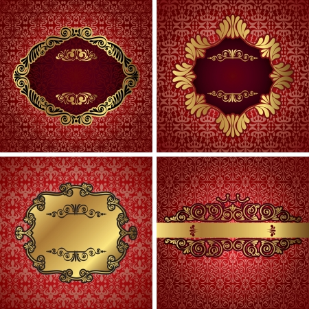 Vintage gold frame on red damask background, vector Vector