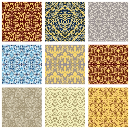 Seamless floral background, set of geometrical patterns Stock Vector - 17041443