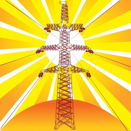 Transmission line with sun rays on background, vector Stock Vector - 17041182
