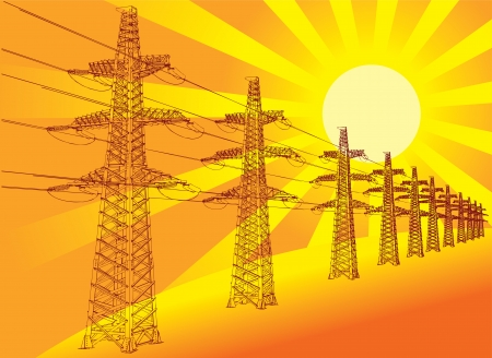 Power Transmission Line against the setting sun, vector Vector