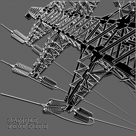 high tension: Power Transmission Line, vector illustration Illustration