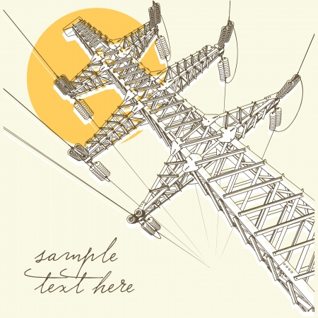 transmission line: Power Transmission Line, vector illustration Illustration