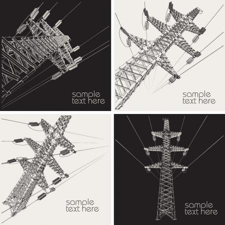 Línea de Transmisión, ilustración vectorial