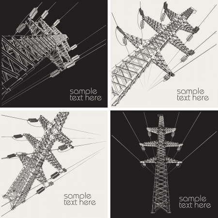 electricity pole: Power Transmission Line, vector illustration Illustration
