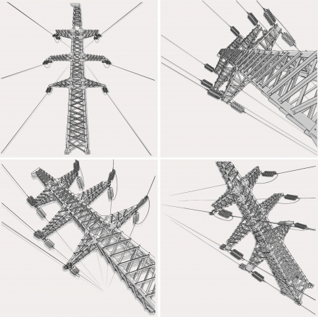 electrical tower: L�nea de Transmisi�n, ilustraci�n vectorial