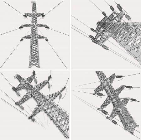 Linia elektroenergetyczna, ilustracji wektorowych Ilustracje wektorowe