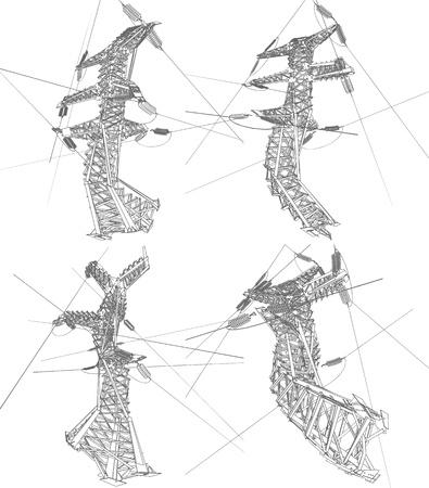 Power lines, vector illustration Stock Vector - 17041209