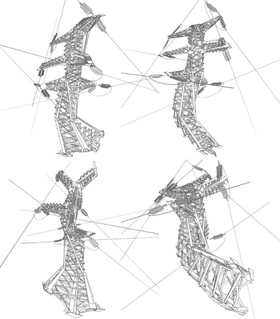 steel structure: Power lines, vector illustration
