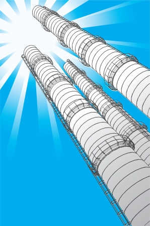 toxic emissions: Smokestacks on a background a sun, vector illustration Illustration
