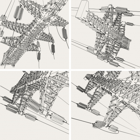 powerlines: Power Transmission Line, vector illustration Illustration