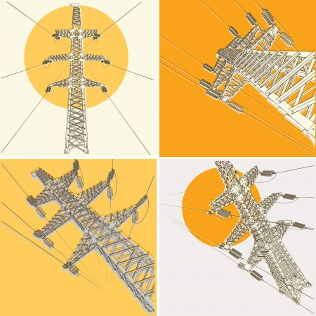 energy grid: Power Transmission Line ilustraci�n Vectores