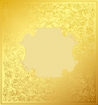 Gold decorative ornament, Luxury floral wallpaper Vector