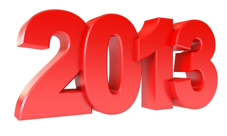 Red new year 2013, Isolated on white background photo