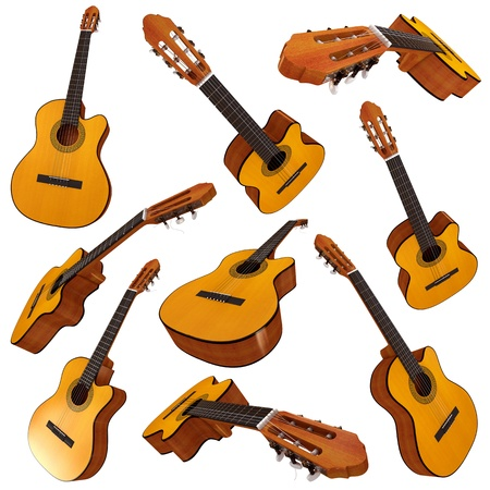 Classical acoustic guitar, Set, 3d render photo