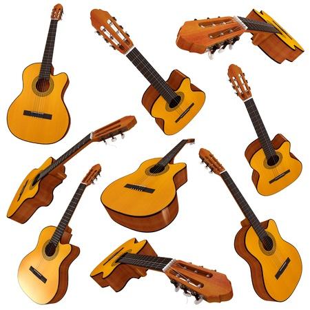 gitarre: Klassische akustische Gitarre, Set, 3d render Lizenzfreie Bilder