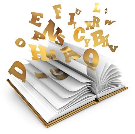 literatura: Cartas que vuelan de un libro abierto, libro de magia, Cuento de hadas