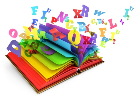 Letters flying out of an open book, Magic book, Fairy tale photo