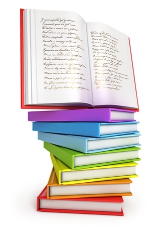 novels: A stack of colorful books with open book on top Stock Photo