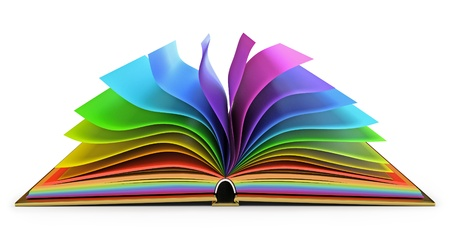 Open book with colorful pages, White background Stock Photo