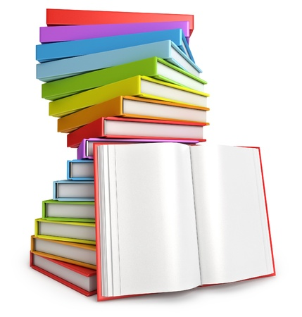 Pile of books, Open book, White background, 3d render photo