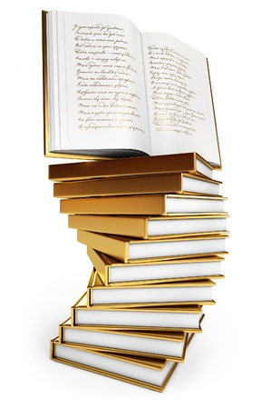 poems: Pile of books, Open book, Book of poems Stock Photo
