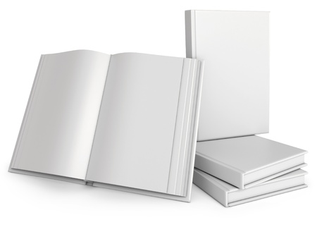magazine stack: Opened White Book of, 3d render Stock Photo