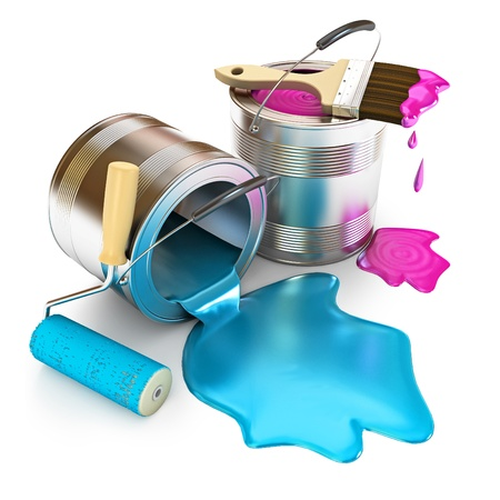 Paint bucket, paint roller and paint brush, 3d render Stock Photo - 17040605