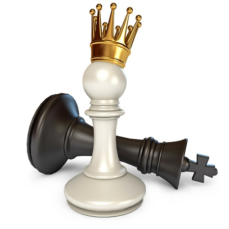 victory: White does the pawn checkmate, Pawn with golden crown