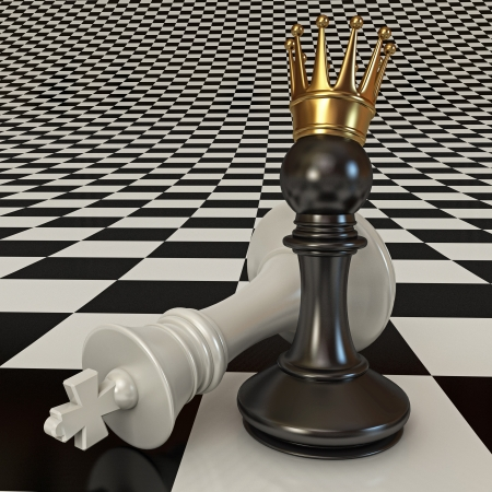 Black does the pawn checkmate, Pawn with golden crown Stock Photo - 17041441