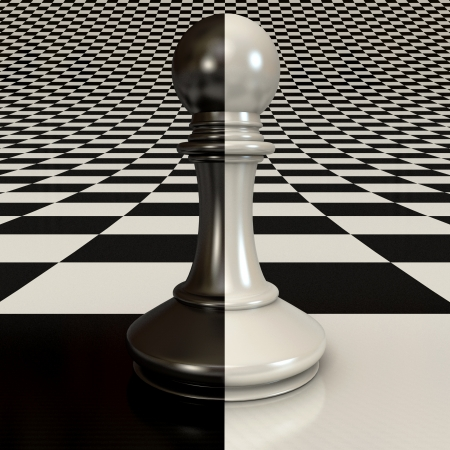 Black and white pawn on chessboard background, 3d render photo