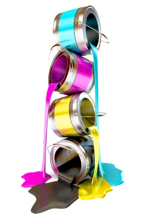 paint bucket: Bottles of ink in cmyk colors, Paint is poured from a can