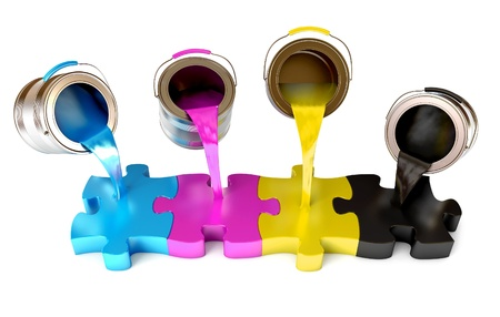 paint tin: Paint from the bucket fills in the puzzle view of CMYK colors Stock Photo