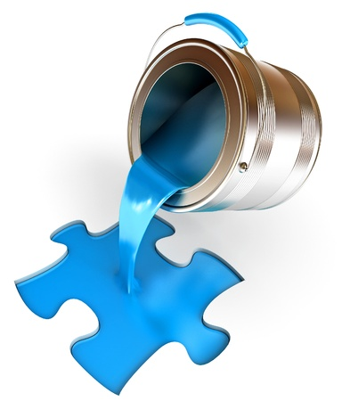 spilled paint: Paint fill a container in the form of a puzzle, 3d render