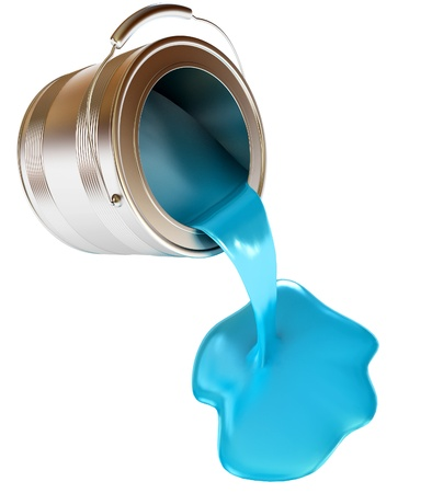 water can: Blue splash pouring from bucket, Isolated, 3d render
