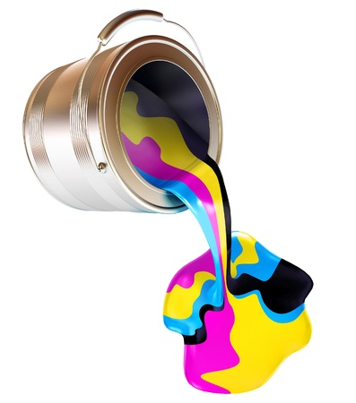 Spilled Paint Cans isolated, CMYK Concept, 3d render photo