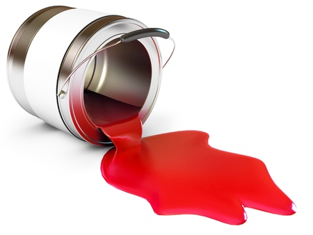 vibrant paintbrush: Spilled Paint Cans, Isolated on white background, 3d render Stock Photo