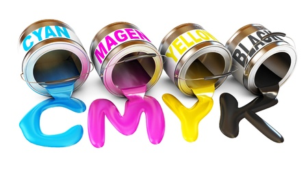 convert: Bottles of ink in cmyk colors, Paint is poured from a can