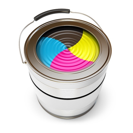 Cans of paint  CMYK Concept , Isolated on white, 3d render photo