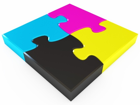 Cmyk puzzle, White background, 3d render photo