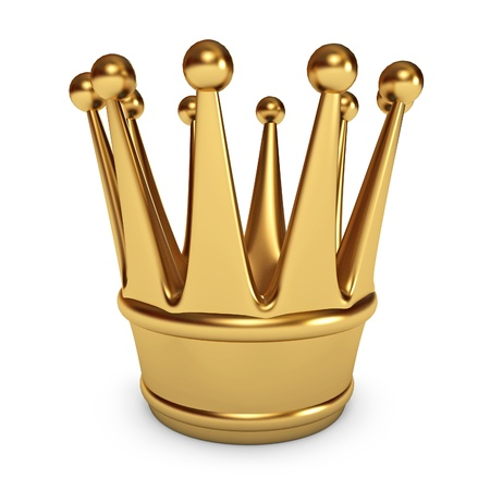 luxuriance: Golden Crown, White background, 3d render Stock Photo