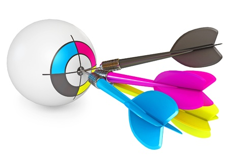cmyk abstract: Dart on target, CMYK Print concept design, 3d render Stock Photo