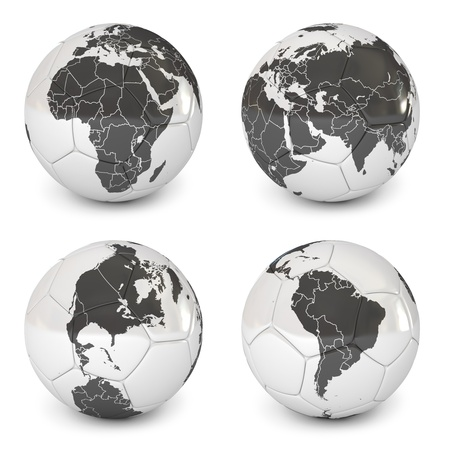 Soccer ball with an image of earth, World Globe Maps Stock Photo - 17040615