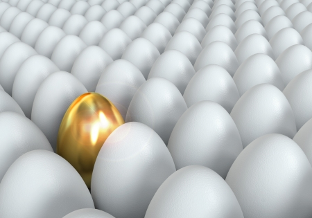 eggshells: Golden egg, conceptual illustration, 3d render