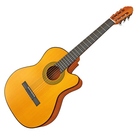 Classical acoustic guitar, 3d render Stock Photo - 17040608