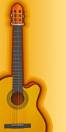 Classical acoustic guitar, 3d render photo
