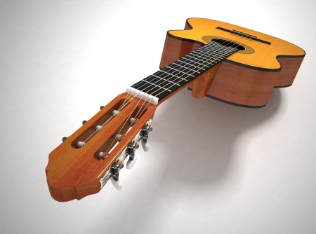 foreshortening: Classical acoustic guitar, 3d render