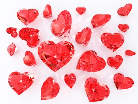 Ruby in heart faceting, Sprinkle of diamonds, Valentine concept photo